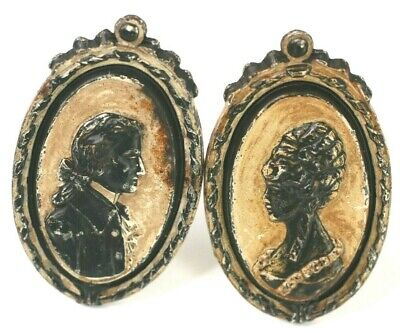 Drapery Curtain Tie Back Cast Iron Silhouette Man Woman Victorian Antique Vtg L1