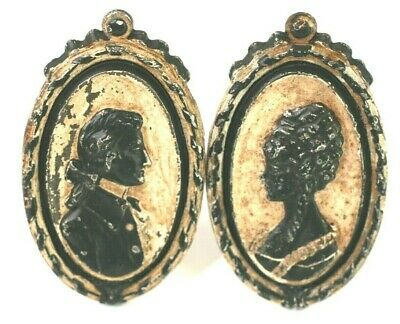 Drapery Curtain Tie Back Cast Iron Silhouette Man Woman Victorian Antique Vtg L2