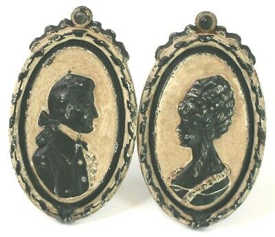 Drapery Curtain Tie Back Cast Iron Silhouette Man Woman Victorian Antique Vtg L3