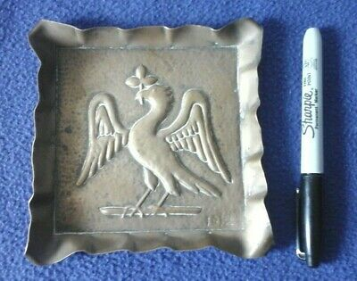 1912 art craft aesthetic movement hand made brass tray/bowl liver-bird Liverpool