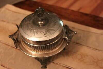 Rare Southington Silver Plate Victorian Footed Hinged Butter Dish