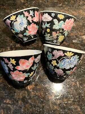 """Vintage Chinese Black Floral Ceramic Tea Cup Floral Pottery 2"""" Set Of 4 Colorful"""