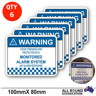 6 x Alarm System Monitored Warning Security Stickers Waterproof Security Sign Wi