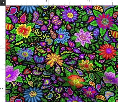 Bold Floral Bohemian Bright Color Flowers Kids Fabric Printed by Spoonflower BTY