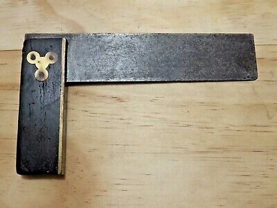 6 Inch Set Square - Wood and Brass - Vintage Antique