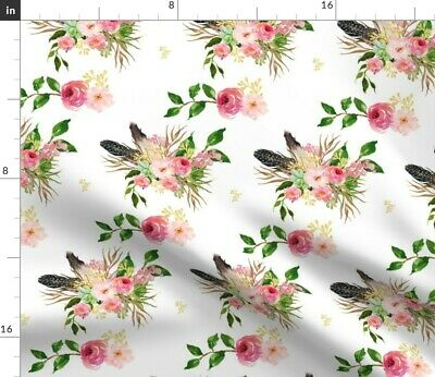 Boho Feather Pink Flowers Floral Baby Girl Fabric Printed by Spoonflower BTY