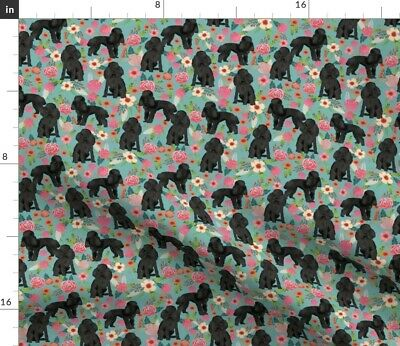 Toy Poodle Floral Fabric Apricot Dog Florals Fabric Printed by Spoonflower BTY