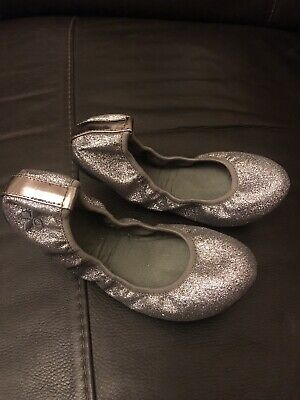 Butterfly Twists Silver Fold Up Ballerina Shoes Metallic Silver Sparkle