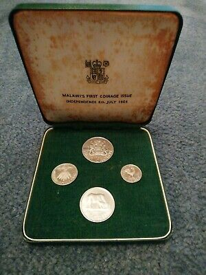 1964 Malawi 4 Coin Proof Set. First Coinage Issue Independence 6th July 1964