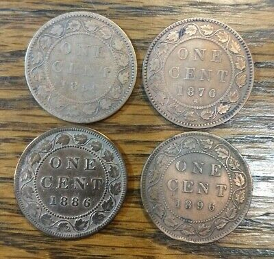 1859 1876 1886 1896 CANADA Canadian LARGE ONE CENT coins