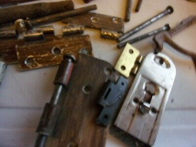 Vintage Hinge Parts And Pins And A Old Handle I Think Can't Read It