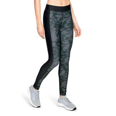 Under Armour Womens HeatGear Printed Leggings Bottoms Pants Trousers Black