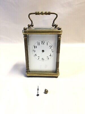 Antique French Brass 8 Day Carriage Clock With Porcelain Dial, Needs Repair