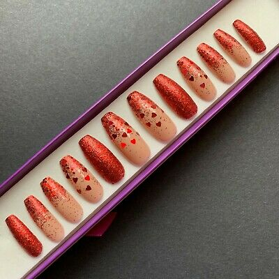 Hand Painted False Nails XL COFFIN - Red Glitter Hearts Ombre - Valentine's Day