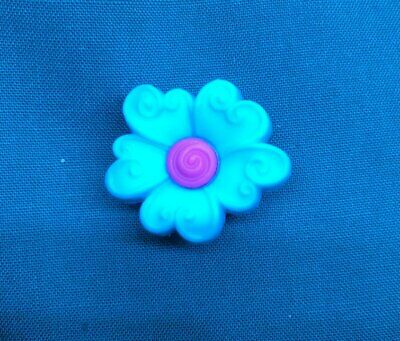 Cute Aqua Blue with Pink Middle Spring Flower Croc Hole Accessories Shoe Charm