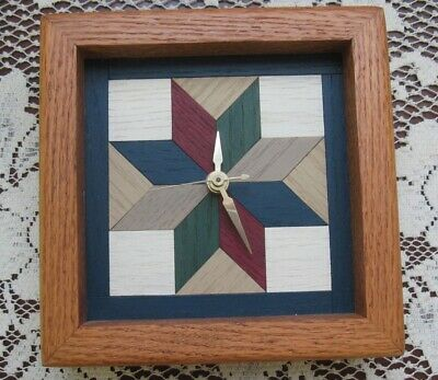 """Handcrafted Oak Clock Inlaid Wood 8 Point Barn Star Country Square 6.5"""" Square"""