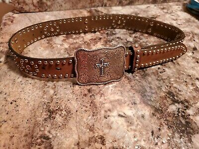 NOCONA WESTERN BROWN BELT•Youth Sz 24EUC!•Pink Bling & Cross Buckle•FastShip!