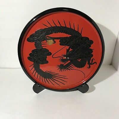 Vintage Red, Black and Gold Lacquer Ware Ryuku Plate - Dragon Design /w Stand