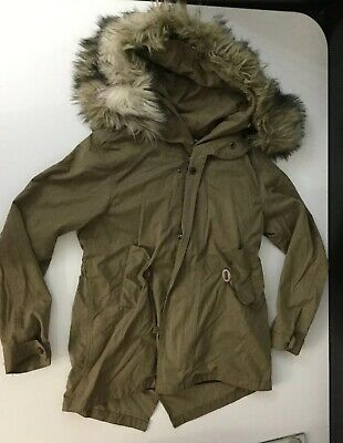 Zara Girls Khaki Green Coat Jacket Faux Fur Hood Age 9-10 Years