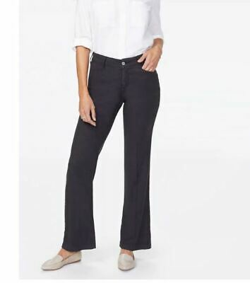 NYDJ Trouser Linen Pants Black LIFT TUCK Not Your Daughters Jeans Womens 2 1909X
