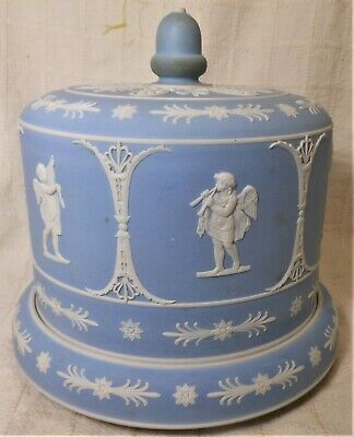 "Super Large Classical Jasper Ware Cheese Keeper Marked W Impressed ""C"""