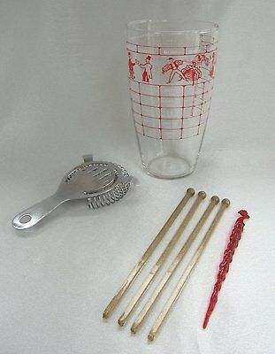 Libbey Glass Cocktail Shaker Mixer with Recipes & Swizzle Sticks Vintage 1950s