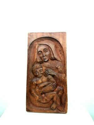 Vintage Wood Hand Carved Mother And Child Madonna and Child Mary and Jesus Art