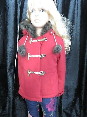 Marks & Spencer Indigo red duffle winter coat with fur trim hood age 7-8 yrs