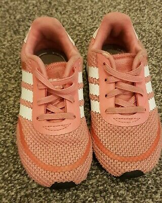 Adidas Infant Girls Pink & White Trainers Size 6