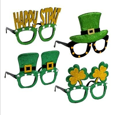 CUTE! St Patricks Day Novelty Glasses Shamrock Hat Happy Green Glitter Party