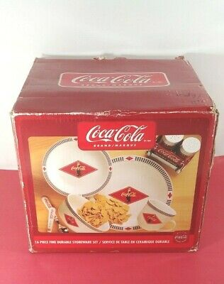Coca Cola Brand By Gibson 16 Pc. Stoneware Dinnerware Set Service For 4 New