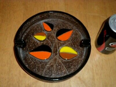[3-D] ABSTRACT FLOWERS LOGO, SUPER JUMBO CERAMIC ASHTRAY, VINTAGE U.S.A. #1960's