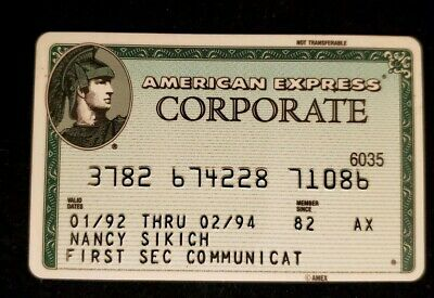 American Express Green Corporate Credit Card exp 1994 ♡Free Shipping♡cc536
