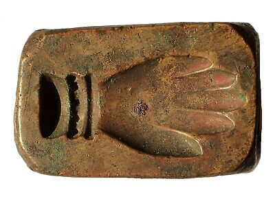 Ancient Near East. C. 5th century BC. Bronze mold of a hand. Rare and choice.