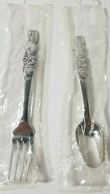 Vintage Oneida Peter Rabbit Child's Fork Stainless And Spoon Silverware.
