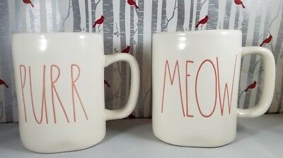 """Rae Dunn Mug Set """"PURR & MEOW LL with Red Interior,white and red, cat mugs gift"""