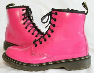 Dr Doc Martens Air Wair Hot Pink Delaney Boots Youth Girls Shoes Size 2