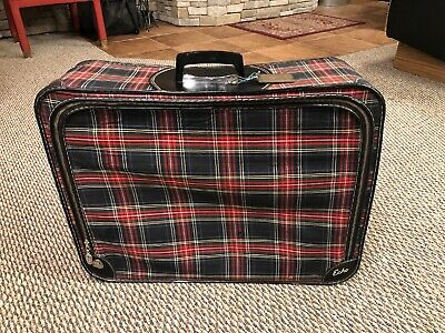 Vintage Echo Plaid Red Suitcase W/ Original Keys And Luggage Tag!