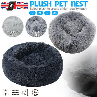 XXL Pet Plush Fluffy Donut Bed Puppy Dog Comfy Nest Kennel Calming Sleep Snooze