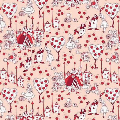 Disney Alice in Wonderland Painting the Roses Red Cotton Quilting Fabric 1/2 YD