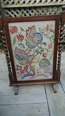 Arts & Crafts fire screen with lovely crewel work and barley twist design in oak
