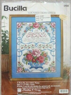 """BUCILLA COUNTED CROSS STITCH KIT 1725  """"A ROSE BY ANY OTHER NAME"""" - new"""