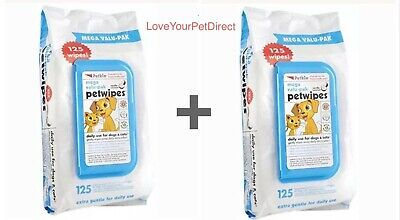 Petkin Pet Wipes Mega Value Pack of 125 Dog Cat Dogs Cats  TWO X 125  DBL
