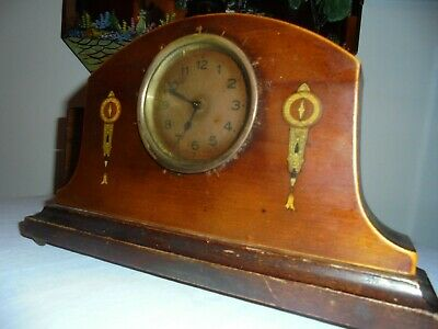 Antique Wooden Wind Up Mantle Clock