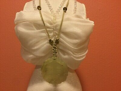 Vintage Jade ? Necklace ,Hand Tied Carved Pendant Faceted olive color beads