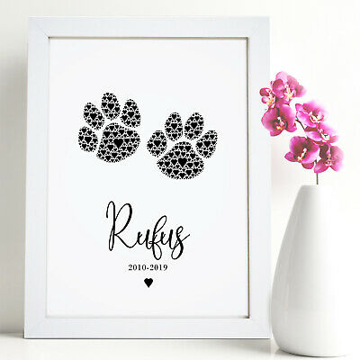 Personalised Pet Paw Prints Gifts Cat Dog Animal Lover Gift In Memory Thank You