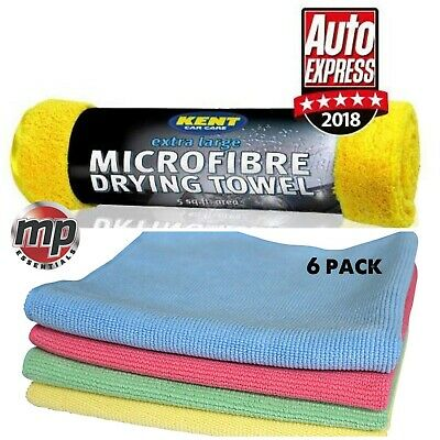 Extra Large Microfibre Car Drying Towel & 6 Buffing Polish Wax & Cleaning Cloths