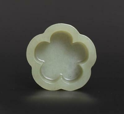 Old Antique Chinese Carved Natural Nephrite HeTian Jade Brush Washer