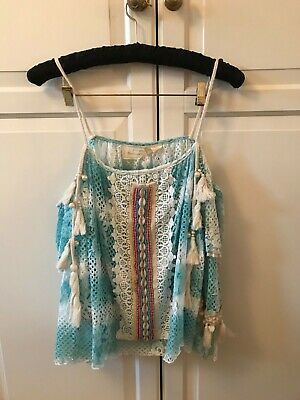 Laurie and Joe Blue Crochet Lace Cold Shoulder Top Size One Uk8-12