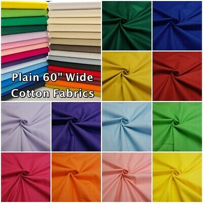"Plain 100% Cotton 60"" Wide Dressmaking Craft Patchwork Fabric"